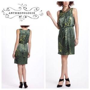 Anthropologie Sariah Kallos Bud Green Silk Dress